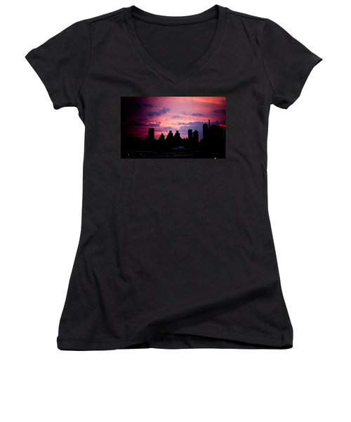 Women's V-Neck T-Shirt (Junior Cut) featuring the photograph Good Morning New York by Sara Frank