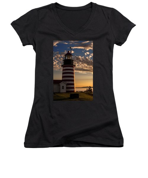 Good Morning West Quoddy Head Lighthouse Women's V-Neck (Athletic Fit)