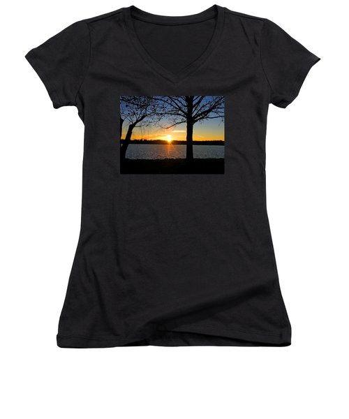Good Night Potomac River Women's V-Neck T-Shirt (Junior Cut) by Emmy Marie Vickers