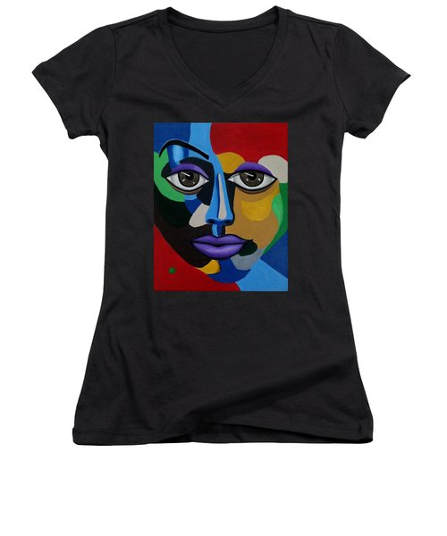 Colorful Illusion Abstract Face Art Painting, Big Brown Eye Art, Optical Artwork Women's V-Neck
