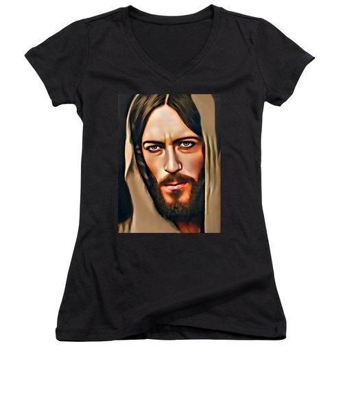Women's V-Neck T-Shirt (Junior Cut) featuring the digital art Got Jesus? by Karen Showell