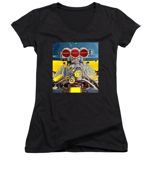 Aaron Berg Women's V-Neck T-Shirt (Junior Cut) featuring the photograph 1000 Hp Pro Street Z28 by Aaron Berg