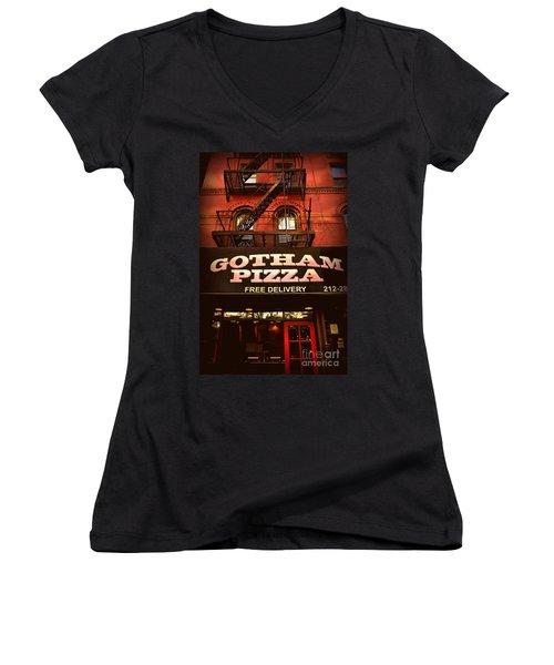 Gotham Pizza Women's V-Neck T-Shirt (Junior Cut) by Miriam Danar
