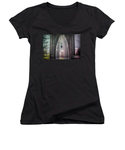 Gothic Arches Hands Folded In Prayer Women's V-Neck (Athletic Fit)