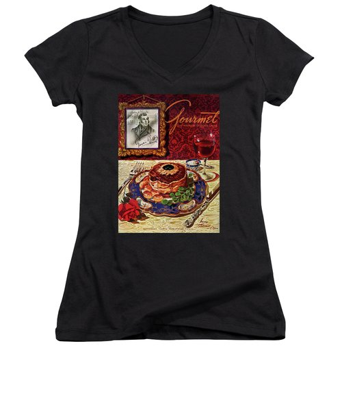 Gourmet Cover Featuring A Plate Of Tournedos Women's V-Neck