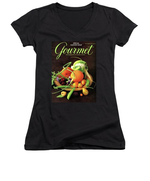 Gourmet Cover Featuring A Variety Of Fruit Women's V-Neck T-Shirt (Junior Cut) by Romulo Yanes