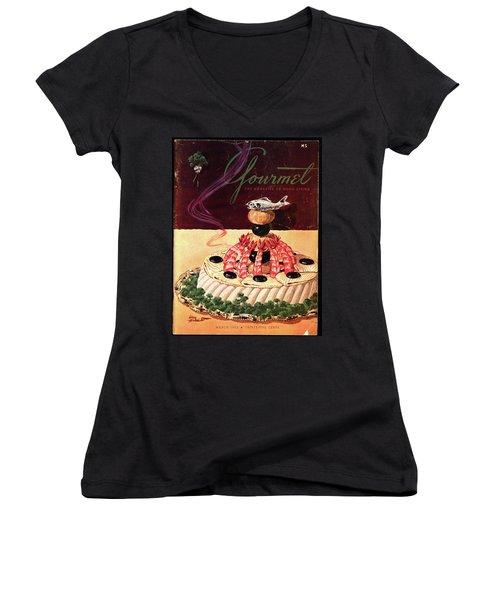 Gourmet Cover Illustration Of A Filet Of Sole Women's V-Neck