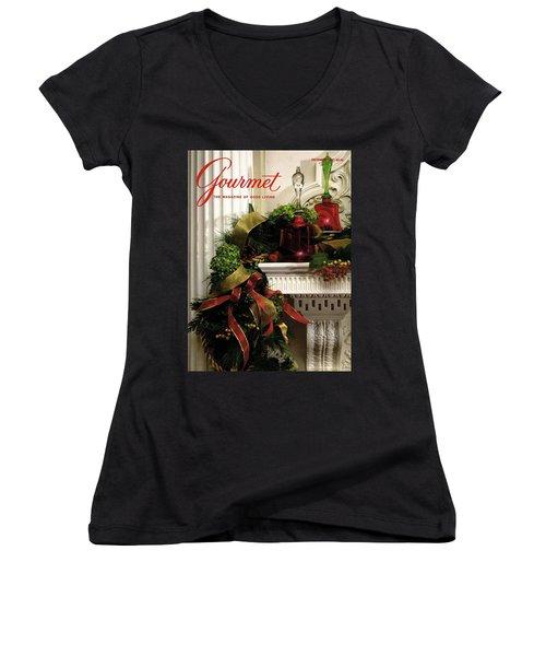 Gourmet Magazine Cover Featuring Christmas Garland Women's V-Neck