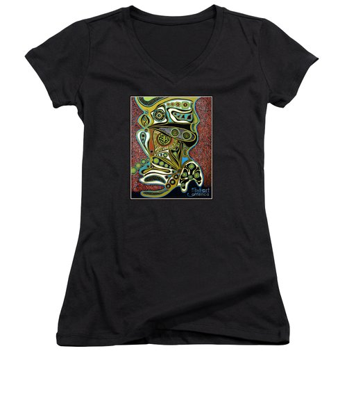 Grain De Folie.. Women's V-Neck T-Shirt (Junior Cut) by Jolanta Anna Karolska