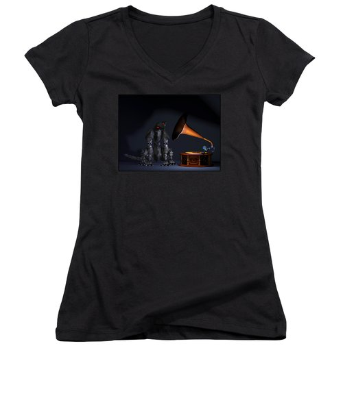 Grammaphone Women's V-Neck T-Shirt (Junior Cut) by Tim Fillingim