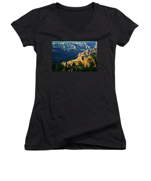 Women's V-Neck T-Shirt (Junior Cut) featuring the photograph Grand Canyon  Golden Hour On Angel Point by Bob and Nadine Johnston
