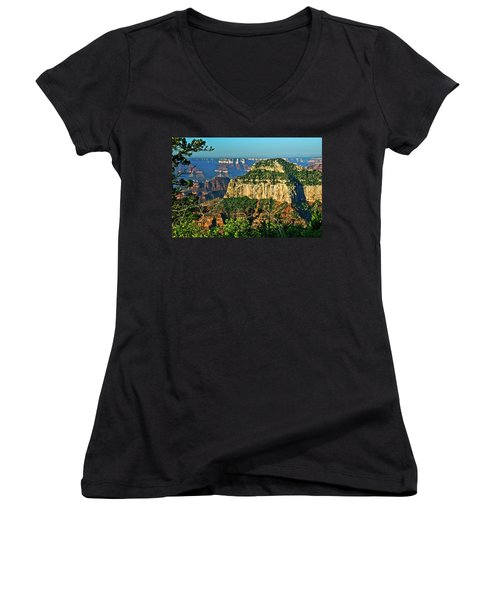 Women's V-Neck T-Shirt (Junior Cut) featuring the photograph Grand Canyon Peak Angel Point by Bob and Nadine Johnston