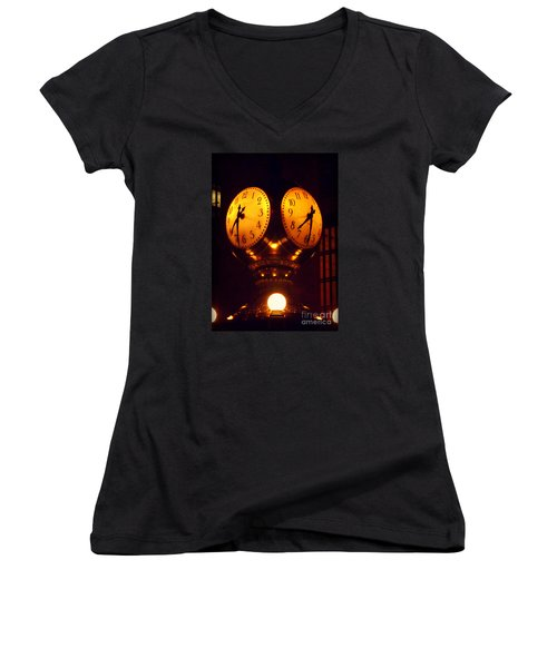 Grand Old Clock - Grand Central Station New York Women's V-Neck T-Shirt