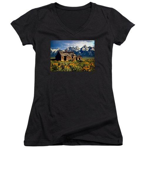 Women's V-Neck T-Shirt (Junior Cut) featuring the photograph Grand Tetons Cabin by John Haldane