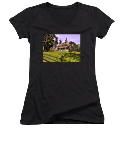Women's V-Neck T-Shirt (Junior Cut) featuring the photograph Grand Yellow Victorian And Gate by Becky Lupe