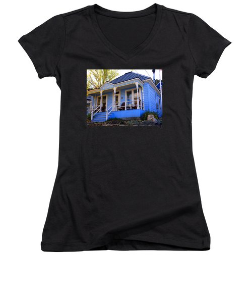 Women's V-Neck T-Shirt (Junior Cut) featuring the photograph Grandma's House by Jackie Carpenter