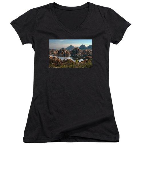 Granite Dells At Watson Lake Women's V-Neck T-Shirt