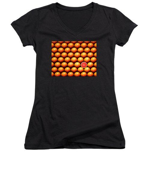 Grapefruit Slice Between Group Women's V-Neck T-Shirt (Junior Cut) by Johan Swanepoel