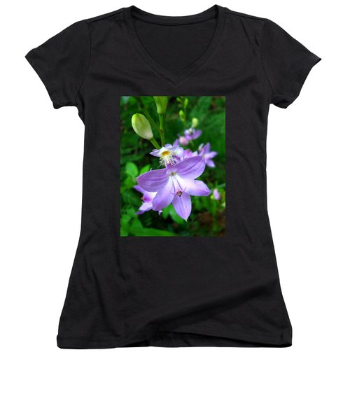 Grass Pink Orchid Women's V-Neck (Athletic Fit)