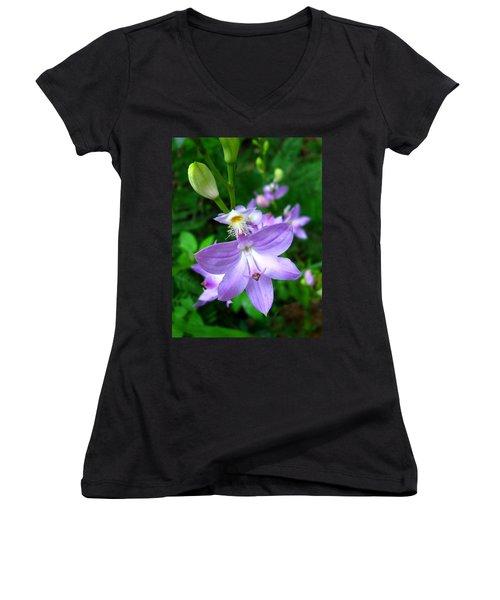 Grass Pink Orchid Women's V-Neck T-Shirt