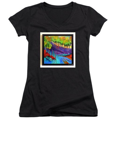 Grate Mountain Women's V-Neck T-Shirt (Junior Cut) by Elizabeth Fontaine-Barr
