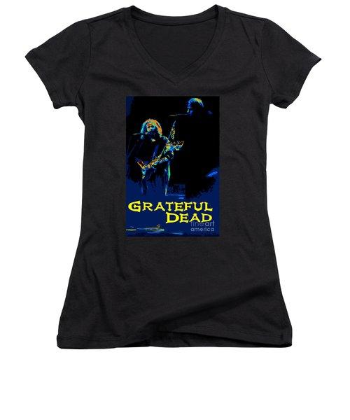 Grateful Dead - In Concert Women's V-Neck T-Shirt (Junior Cut) by Susan Carella