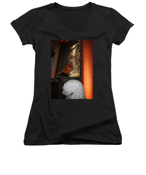 Grauman's Chinese Theatre Women's V-Neck T-Shirt (Junior Cut) by David Nicholls