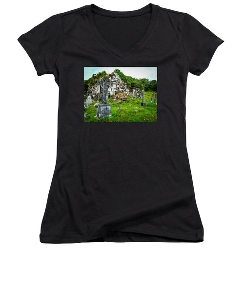 Graveyard And Church Ruins On Ireland's Mizen Peninsula Women's V-Neck