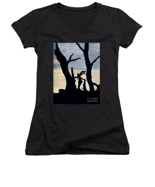 Women's V-Neck T-Shirt (Junior Cut) featuring the drawing Gray Sunset by D Hackett