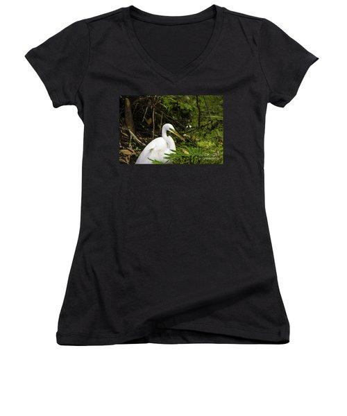Great Blue Heron - White Women's V-Neck