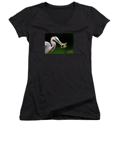 Women's V-Neck T-Shirt (Junior Cut) featuring the photograph Great Blue Heron And The Catfish by Kathy Baccari