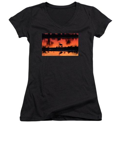 Great Blue Heron At Sunrise Women's V-Neck T-Shirt (Junior Cut) by Allan Levin