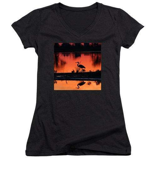 Great Blue Heron At Sunrise Women's V-Neck T-Shirt