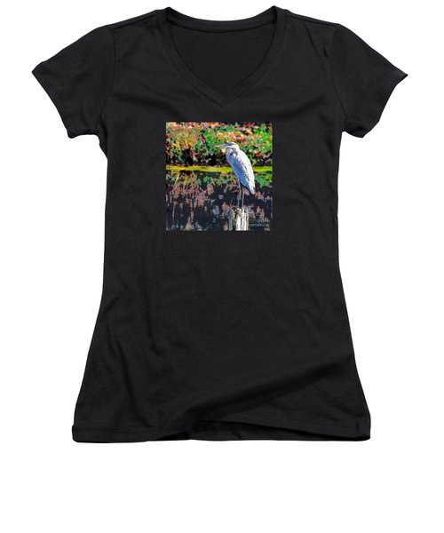 Great Blue Heron At The Pond Women's V-Neck
