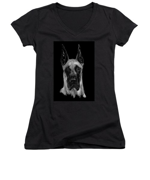 Women's V-Neck T-Shirt (Junior Cut) featuring the drawing Great Dane by Rachel Hames