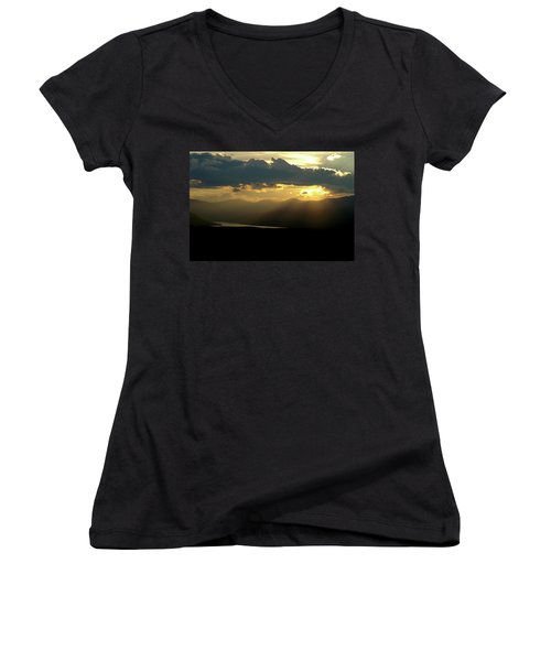 Women's V-Neck T-Shirt (Junior Cut) featuring the photograph Great Divide Light by Jeremy Rhoades