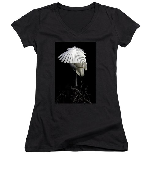 Great Egret Bowing Women's V-Neck