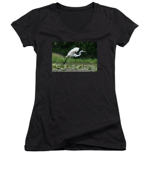 Great Egret Elegance   Women's V-Neck T-Shirt