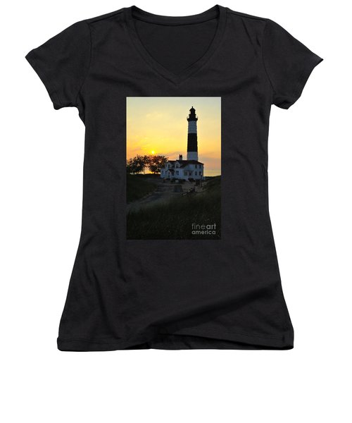 Great Lakes Lighthouse Big Sable Point Women's V-Neck T-Shirt (Junior Cut) by Terri Gostola
