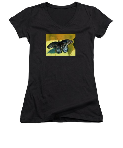 Women's V-Neck T-Shirt (Junior Cut) featuring the pastel Great Mormon by Pattie Wall