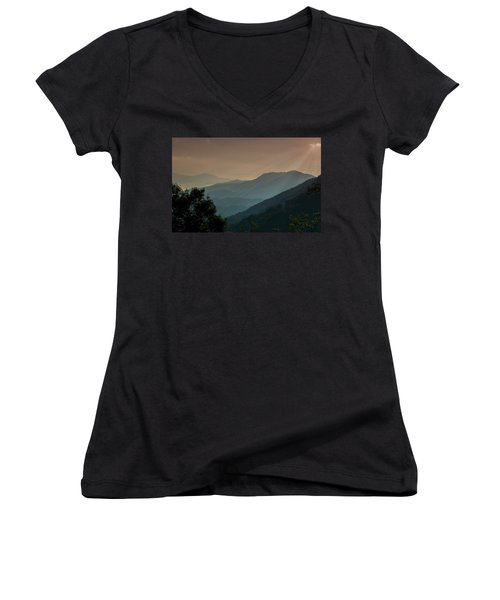 Great Smoky Mountains Blue Ridge Parkway Women's V-Neck T-Shirt (Junior Cut) by Patti Deters