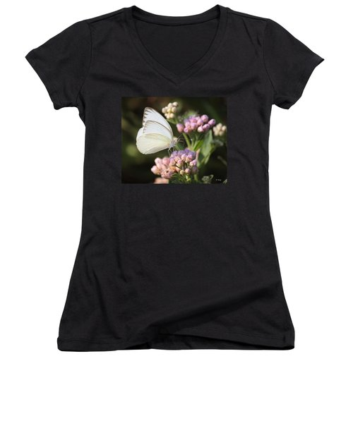 Great Southern White Butterfly On Pink Flowers Women's V-Neck (Athletic Fit)
