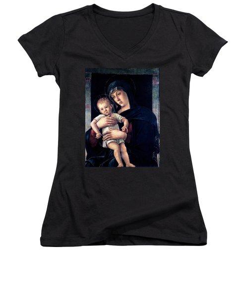 Greek Madonna With Child 1464 Giovanni Bellini Women's V-Neck T-Shirt (Junior Cut) by Karon Melillo DeVega