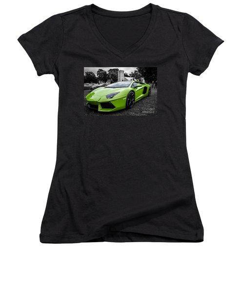 Green Aventador Women's V-Neck (Athletic Fit)