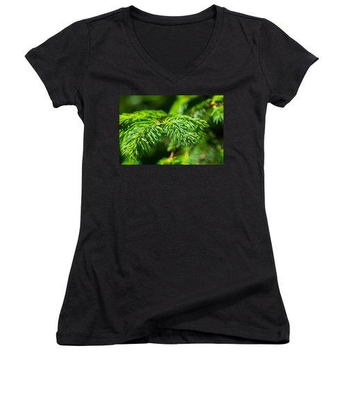 Green Christmas Tree 2 Women's V-Neck T-Shirt (Junior Cut) by Alexander Senin