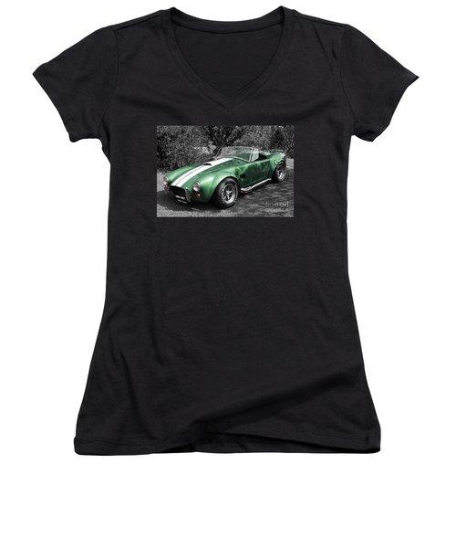 Green Cobra Women's V-Neck T-Shirt