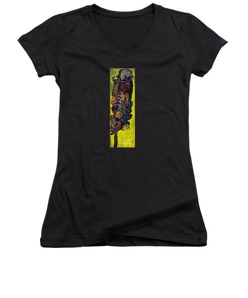 Green Crow Feather Women's V-Neck T-Shirt (Junior Cut) by Emily McLaughlin