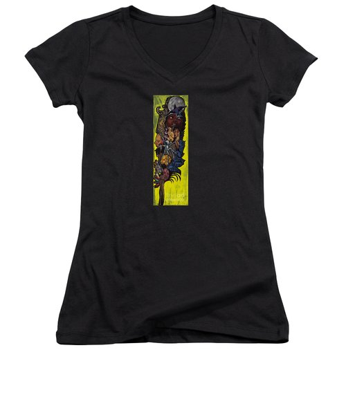 Green Crow Feather Women's V-Neck T-Shirt