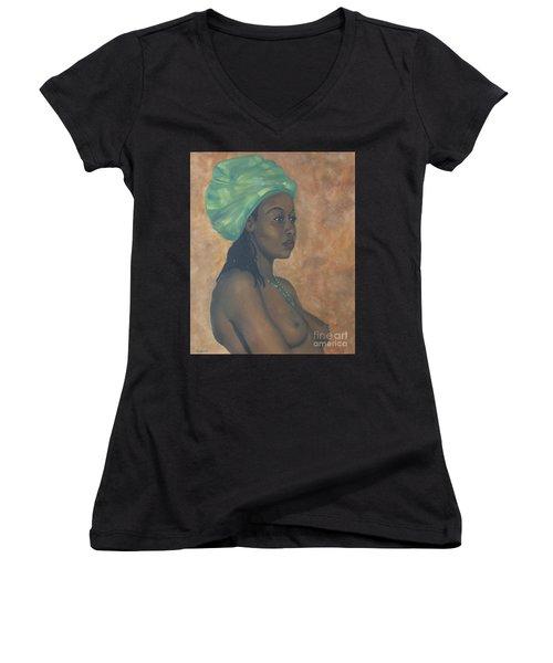 Green Headwrap Women's V-Neck