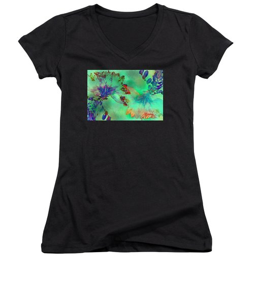 Green Hibiscus Mural Wall Women's V-Neck T-Shirt